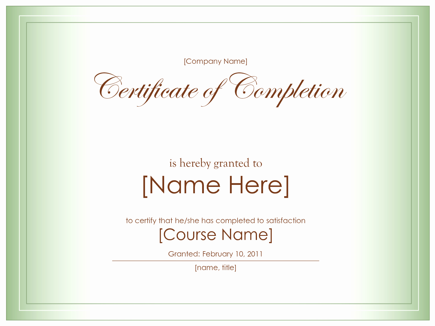 Printable Certificate Of Completion Template Elegant 10 Best Certificate Pletion Template Blank