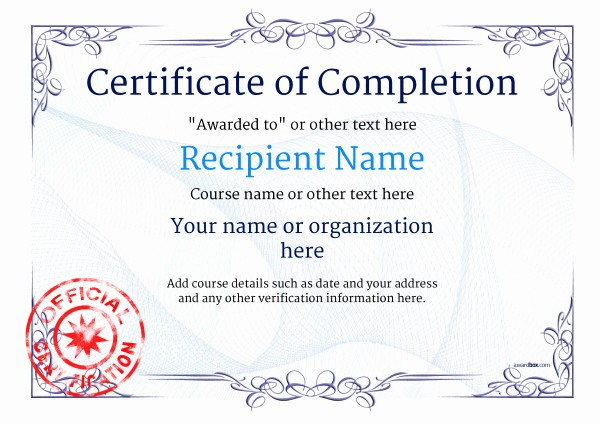 Printable Certificate Of Completion Template Fresh Certificate Of Pletion Free Quality Printable