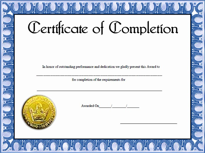 Printable Certificate Of Completion Template Fresh Certificate Of Pletion Template