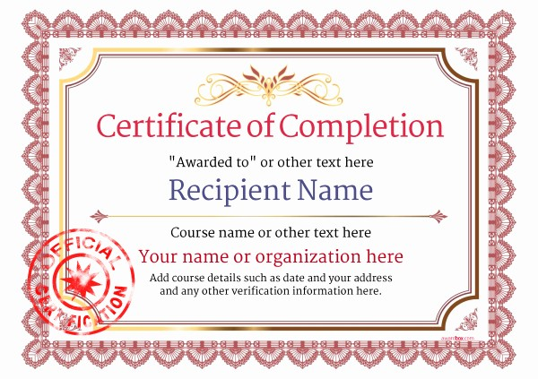 Printable Certificate Of Completion Template Inspirational Certificate Of Pletion Free Quality Printable