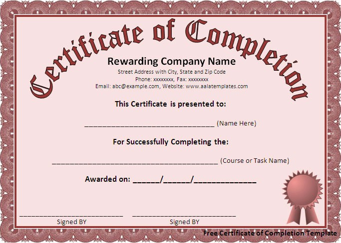 Printable Certificate Of Completion Template Inspirational Free Certificate Of Pletion Template Free formats