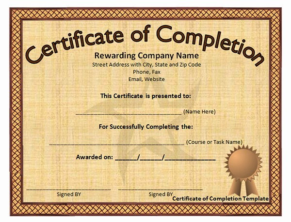 Printable Certificate Of Completion Template Inspirational Printable Certificates Of Pletion