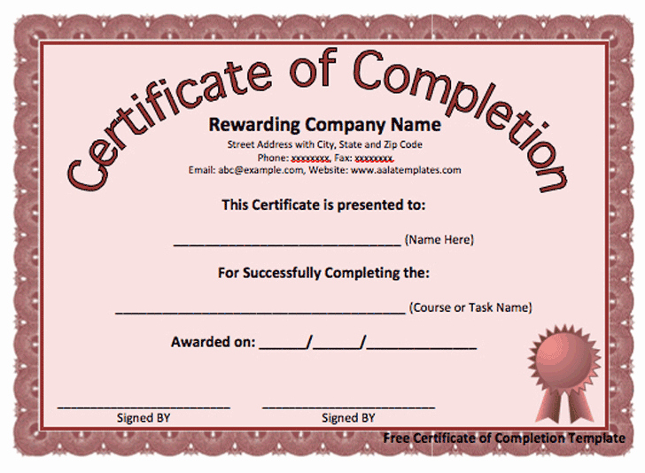Printable Certificate Of Completion Template Luxury 13 Certificate Of Pletion Templates Excel Pdf formats