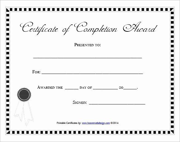 Printable Certificate Of Completion Template New 37 Free Certificate Of Pletion Templates In Word Excel Pdf