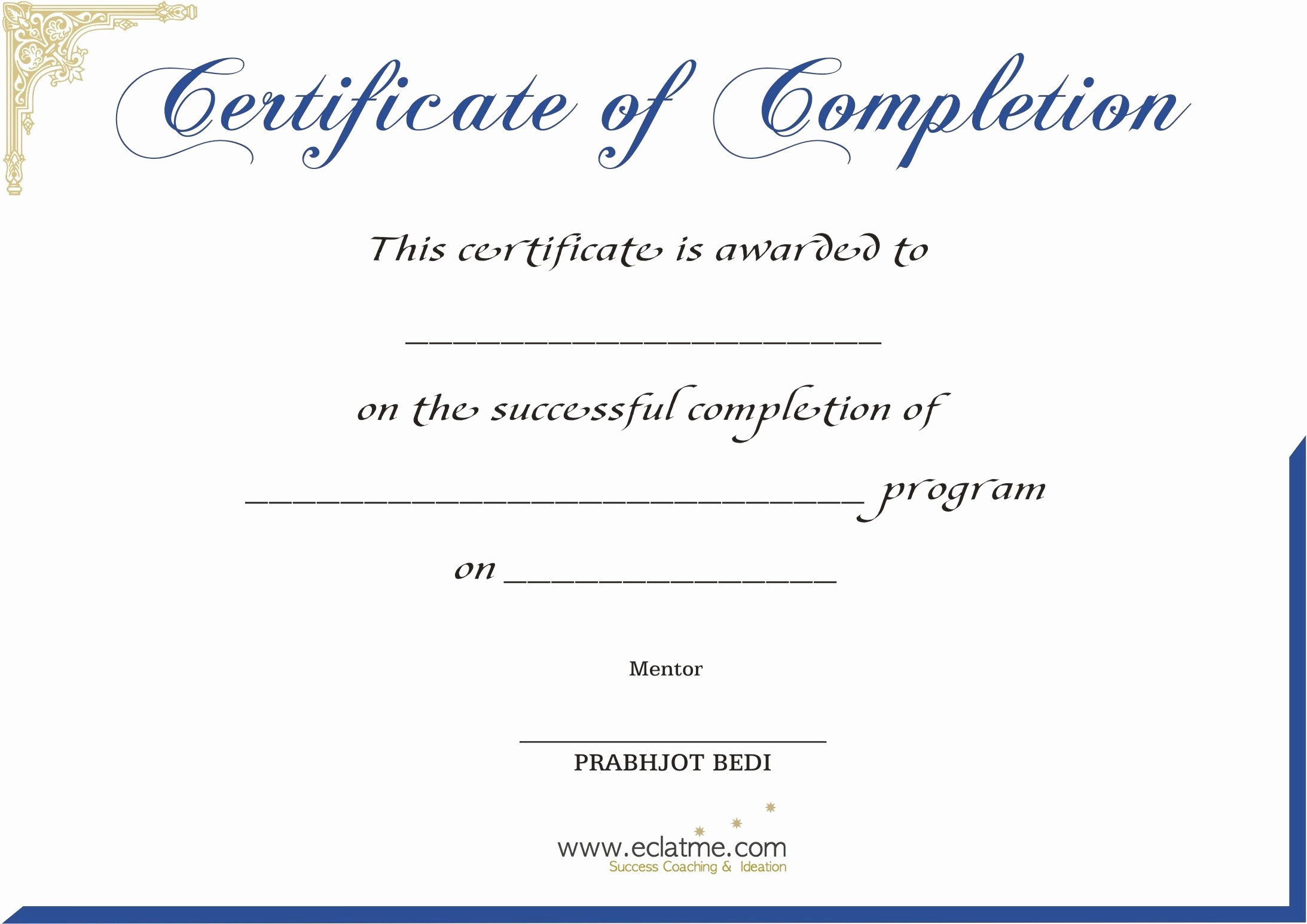 Printable Certificate Of Completion Template New Premium Blank Certificate Pletion Flyers V M D