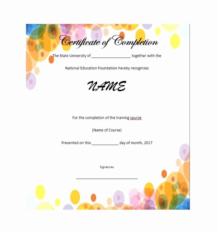Printable Certificate Of Completion Template Unique 40 Fantastic Certificate Of Pletion Templates [word