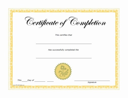 Printable Certificate Of Completion Template Unique Certificate Templates
