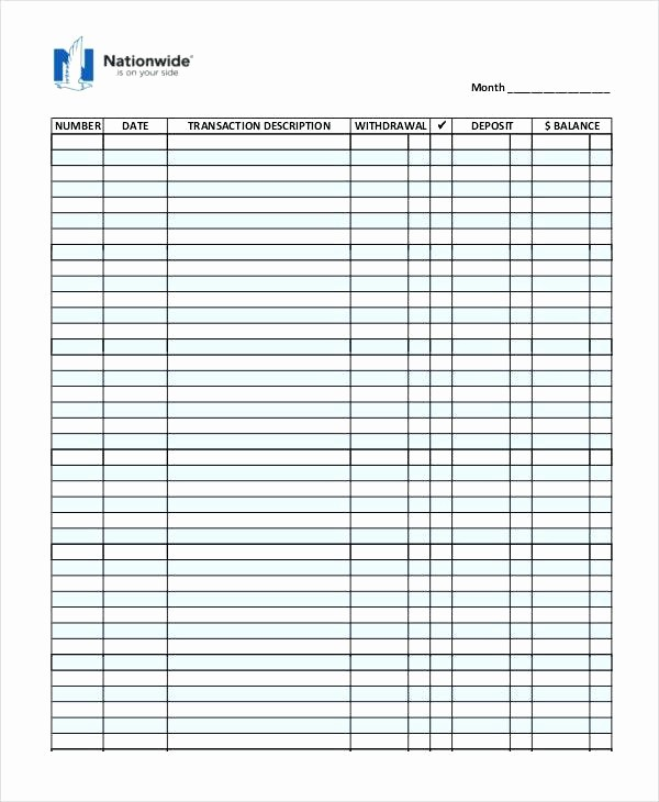 Printable Check Register Full Page Fresh Checkbook Register Printable Check Full Page Pages