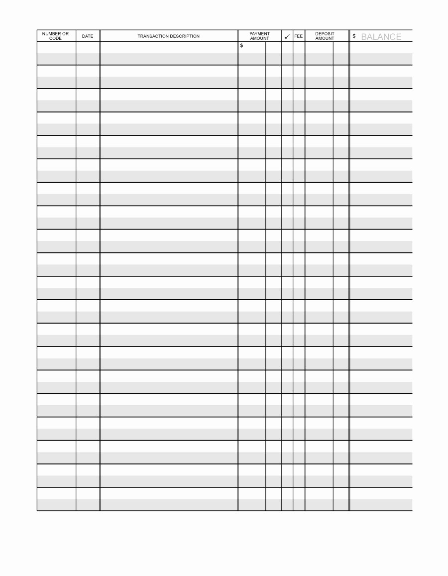 Printable Check Register Full Page Inspirational 37 Checkbook Register Templates [ Free Printable