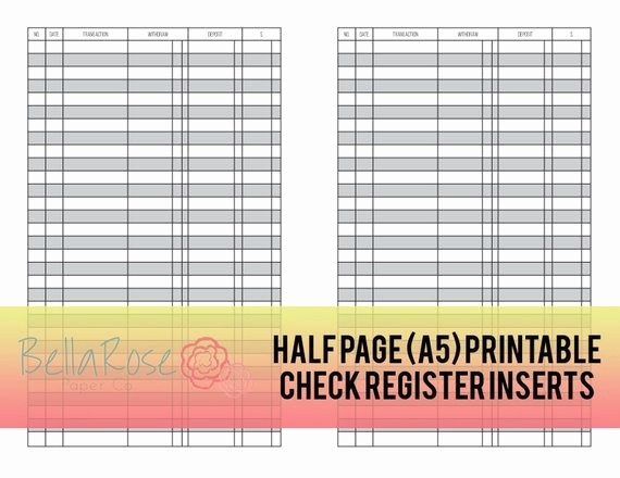 Printable Check Register Full Page Inspirational A5 Half Page Printable Check Register Inserts Bud Ing