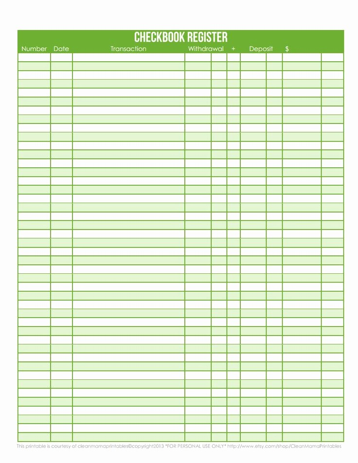Printable Check Register Full Page Luxury 7 Best Of Check Register Full Page Printable Free