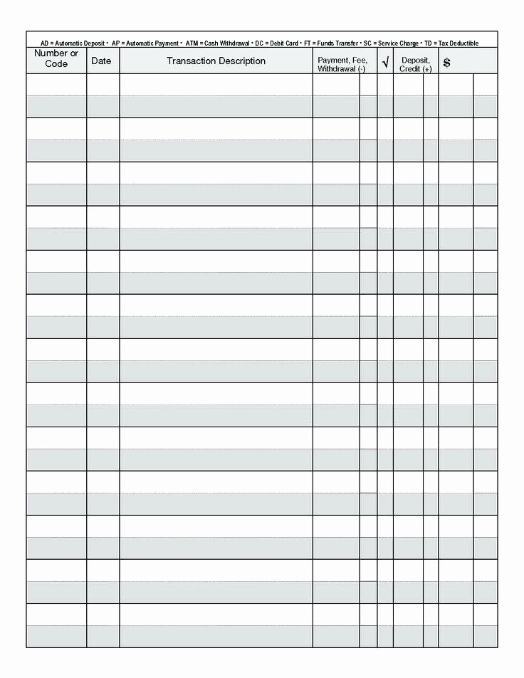 Printable Check Register Full Page Unique Checkbook Register Printable Check Full Page Pages