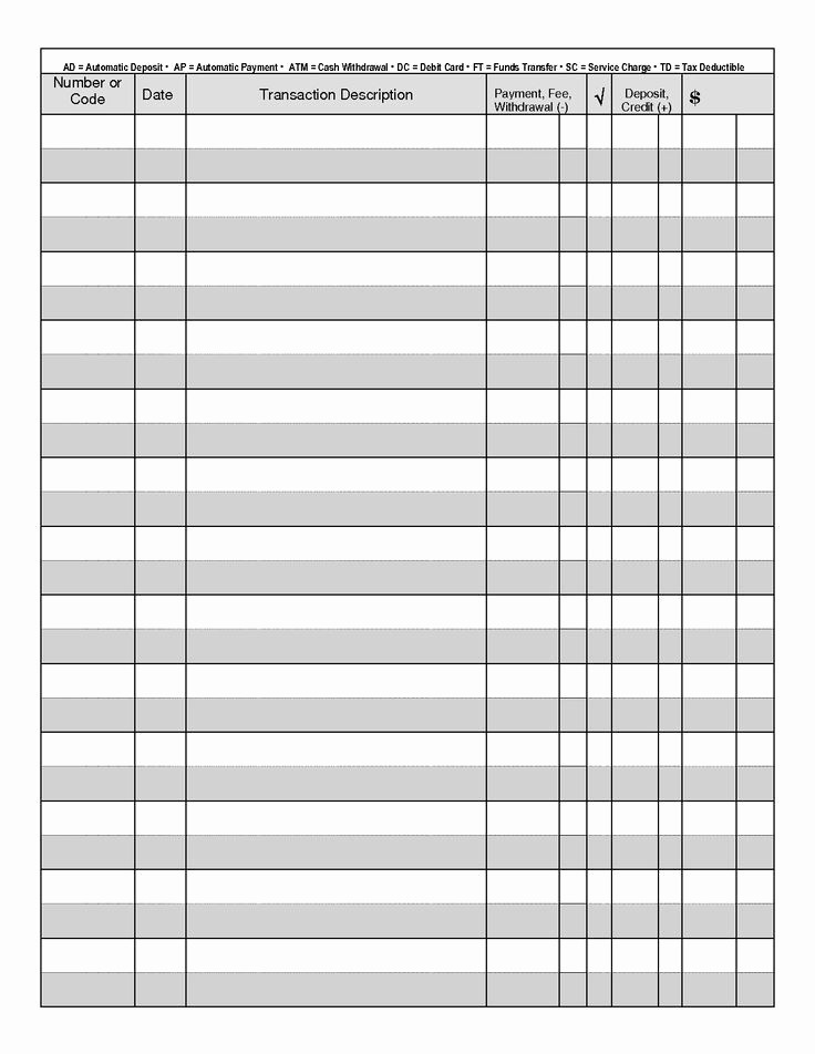 Printable Check Register Full Page Unique Printable Check Register Full Page