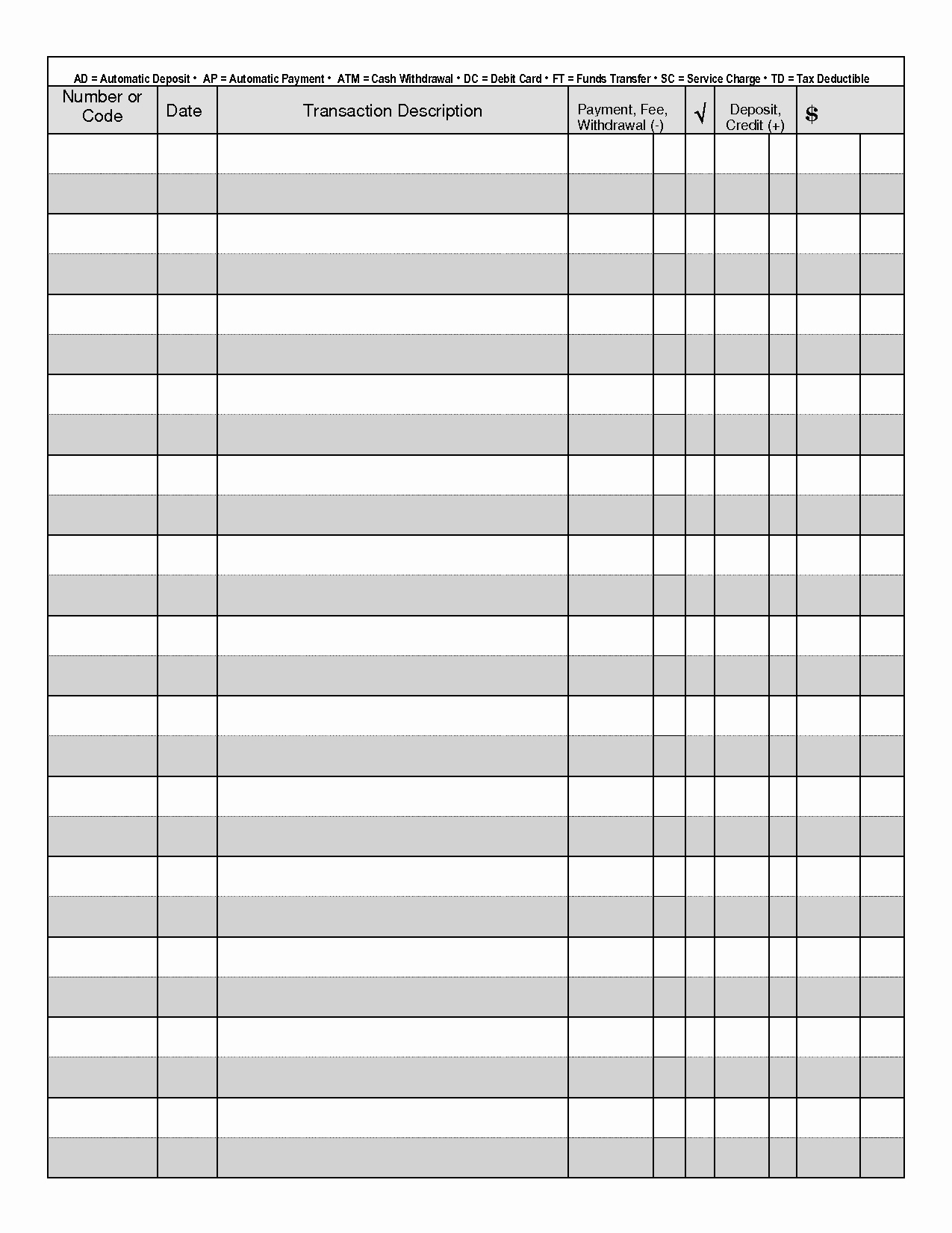 Printable Check Register Full Page Unique Printable Check Register when You are Searching for