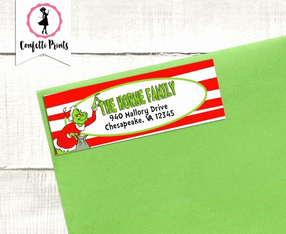 Printable Christmas Return Address Labels Awesome Grinch Address Label