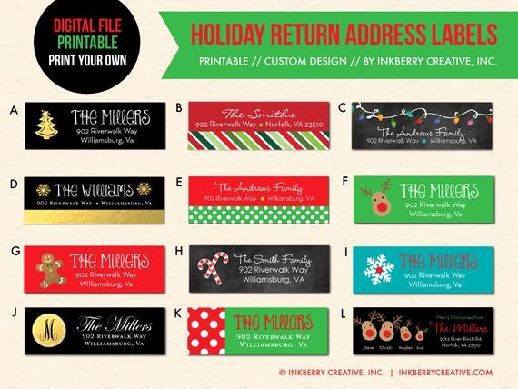 Printable Christmas Return Address Labels Awesome Printable Digital File Print Your Own Custom