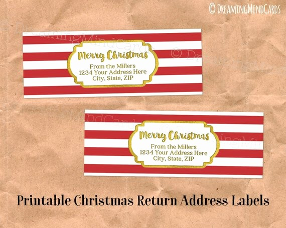 Printable Christmas Return Address Labels Best Of Custom Holiday Printable Return Address Labels Vintage Red