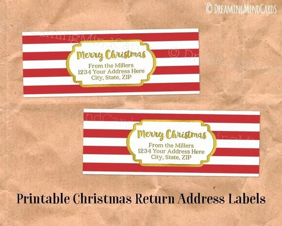 Printable Christmas Return Address Labels Best Of Custom Holiday Printable Return Address Labels Vintage Red