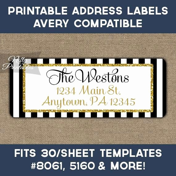 Printable Christmas Return Address Labels Best Of Printable Address Labels Black & Gold Glitter Return Address