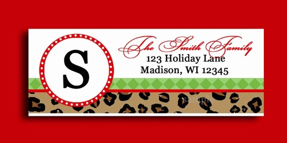 Printable Christmas Return Address Labels Elegant Christmas Leopard Labels Printable or Printed Printable