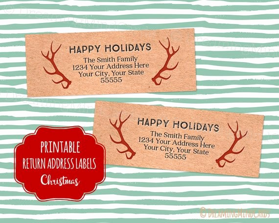 Printable Christmas Return Address Labels Elegant Items Similar to Custom Vintage Christmas Printable Return