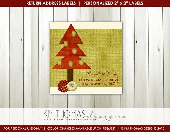 Printable Christmas Return Address Labels Elegant Rustic Christmas Tree Return Address Label Square Label