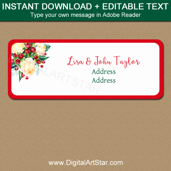 Printable Christmas Return Address Labels Lovely Christmas Return Address Label Printable Labels