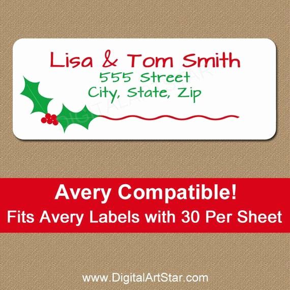 Printable Christmas Return Address Labels Unique Christmas Address Labels Printable Christmas by Digitalartstar