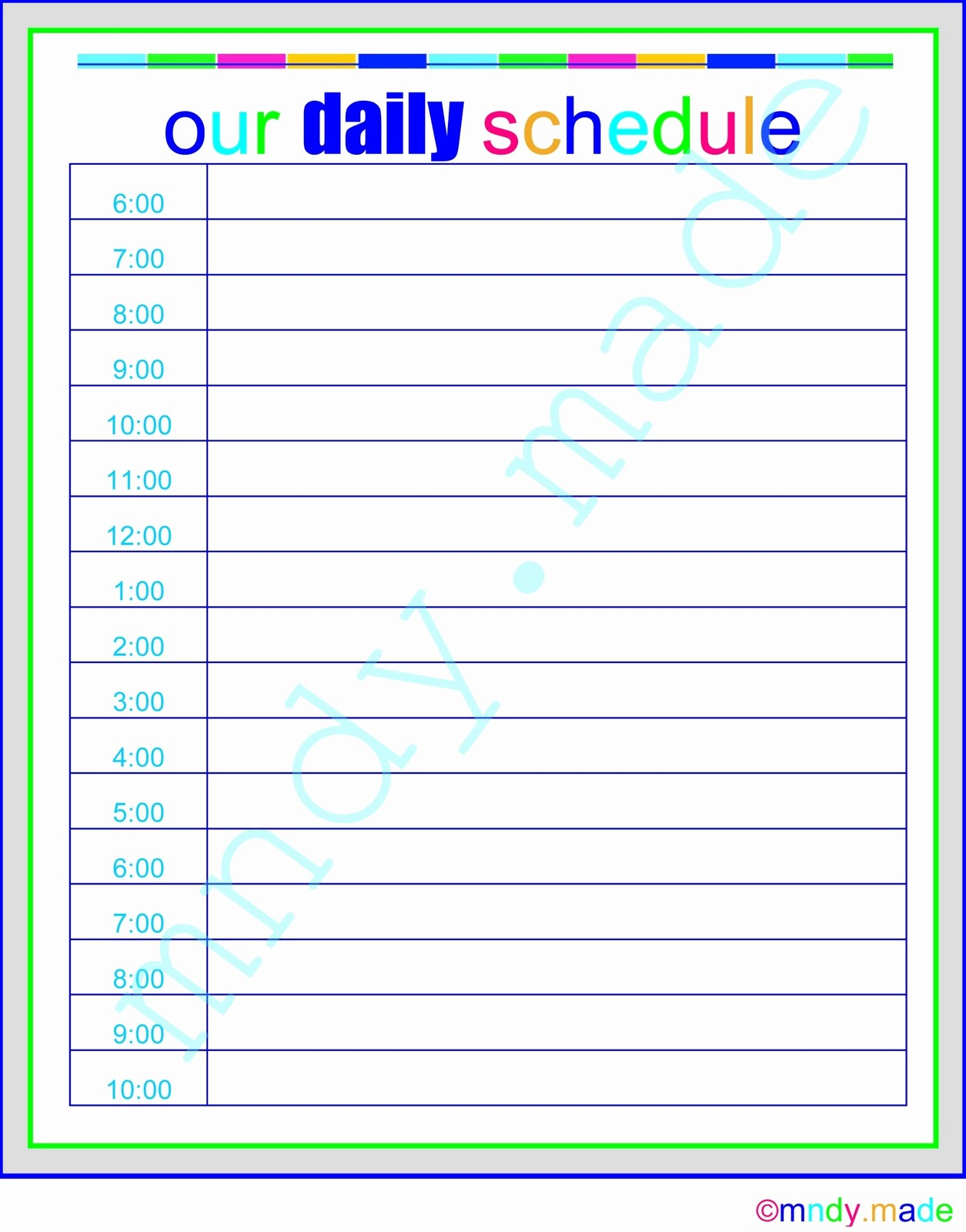 Printable Daily Calendar by Hour Awesome Printable Daily Calendar by Hour