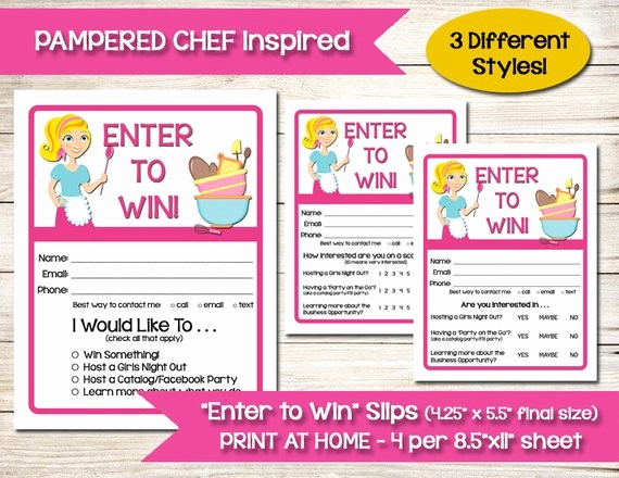 Printable Door Prize Drawing Slips Beautiful Tupperware Pampered Chef Enter to Win Door Prize Entry