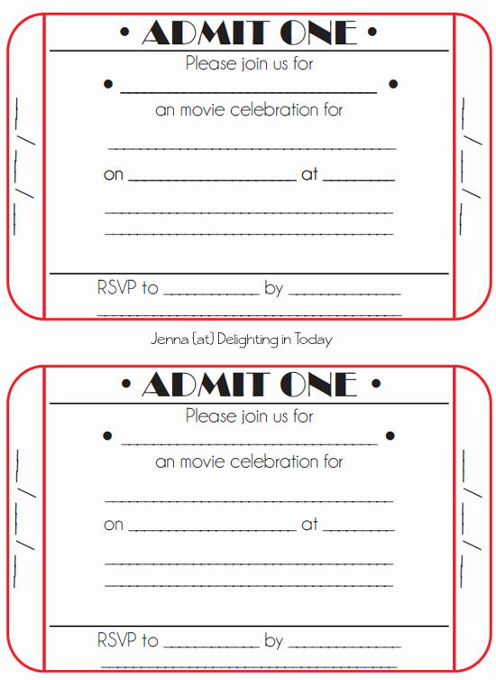 Printable event Tickets Template Free Best Of Movie Ticket Birthday Invitations Free Printable