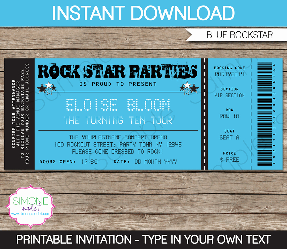 Printable event Tickets Template Free Elegant Rockstar Party Ticket Invitation Template Blue