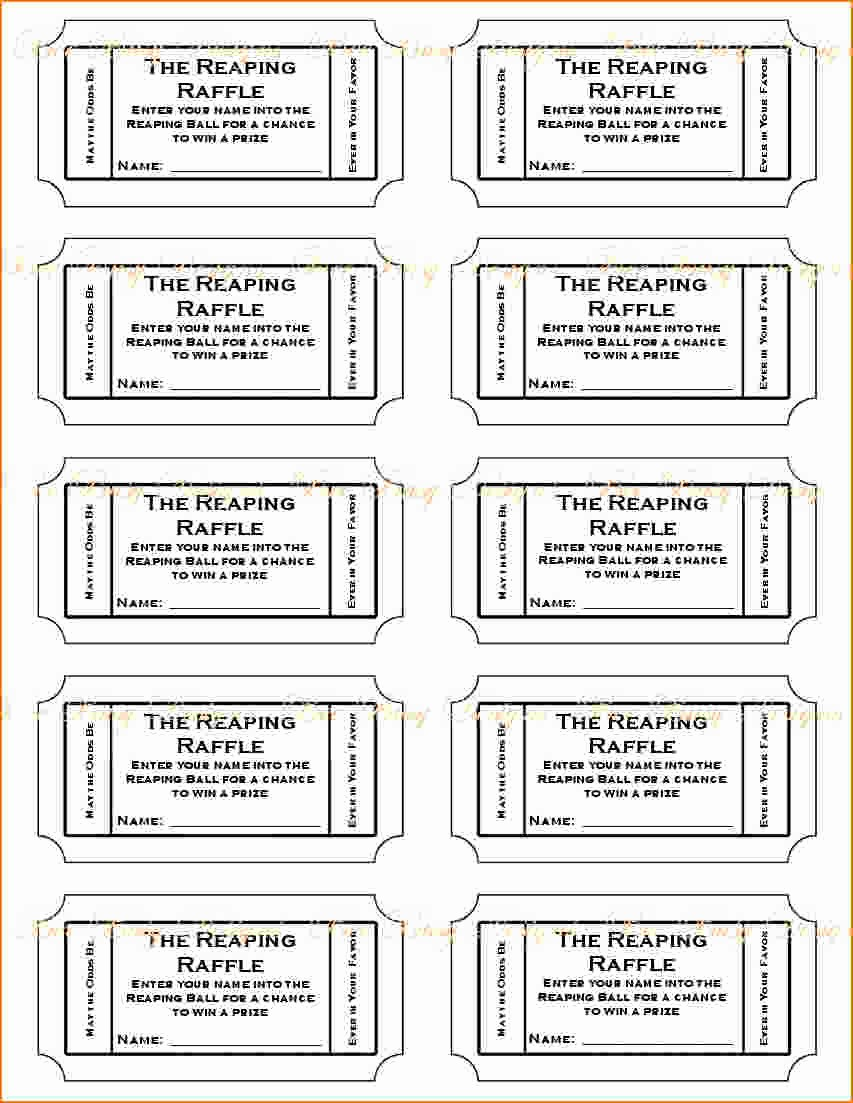 Printable event Tickets Template Free Inspirational 4 Printable Raffle Tickets