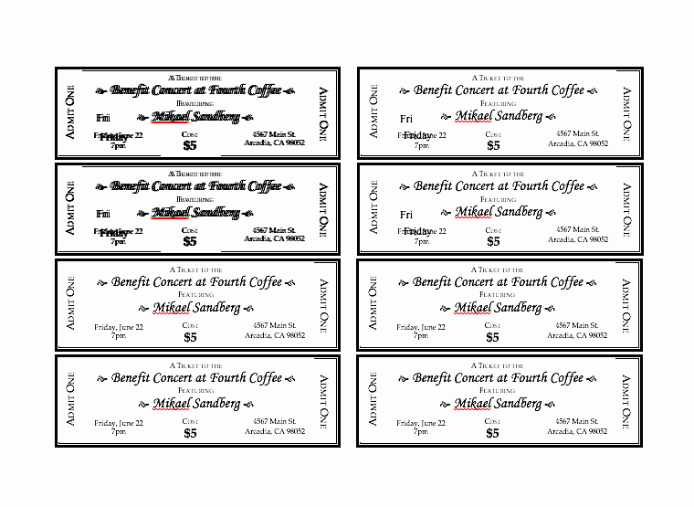 Printable event Tickets Template Free Inspirational event Ticket Template Free Word