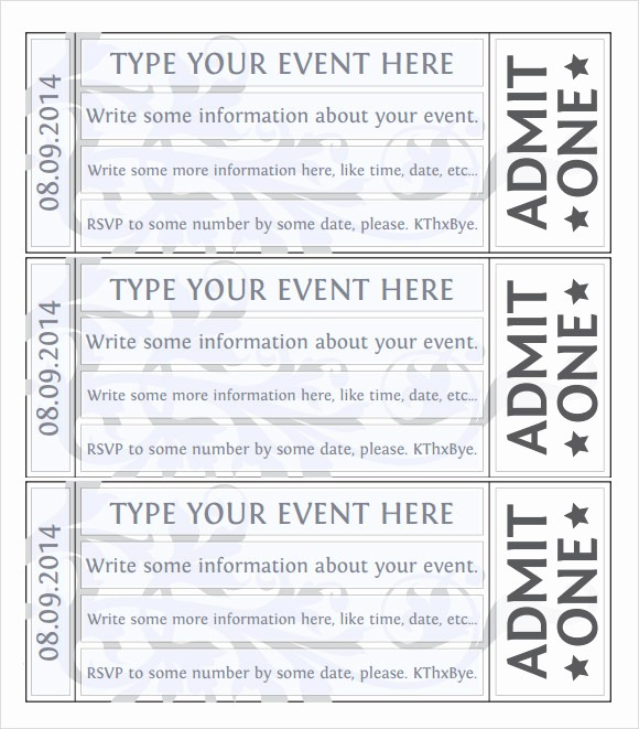 Printable event Tickets Template Free Lovely 22 Sample Amazing event Ticket Templates to Download
