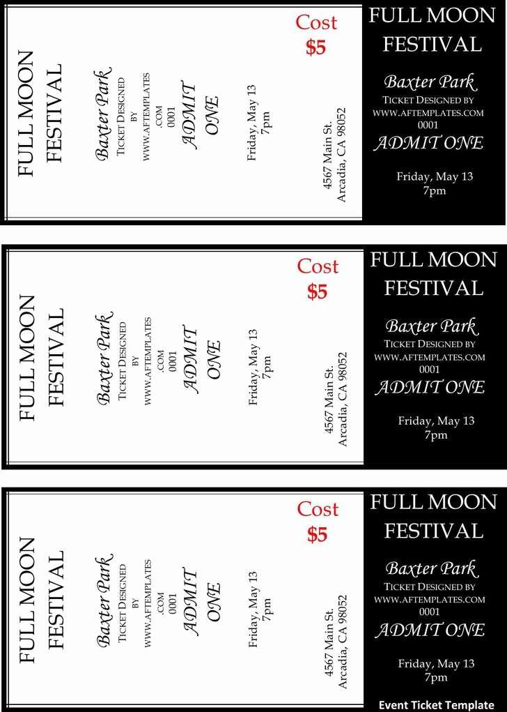 Printable event Tickets Template Free Luxury 81 Ticket Templates Free Download