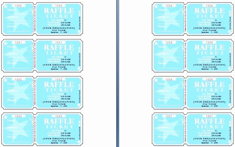 Printable event Tickets Template Free Luxury Printable Raffle Ticket Templates Sample event Tickets