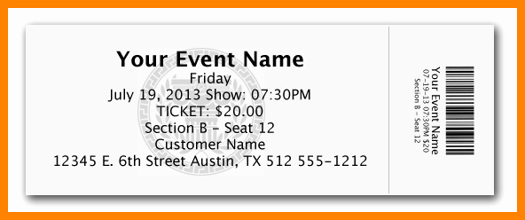 Printable event Tickets Template Free New 10 Free Ticket Template