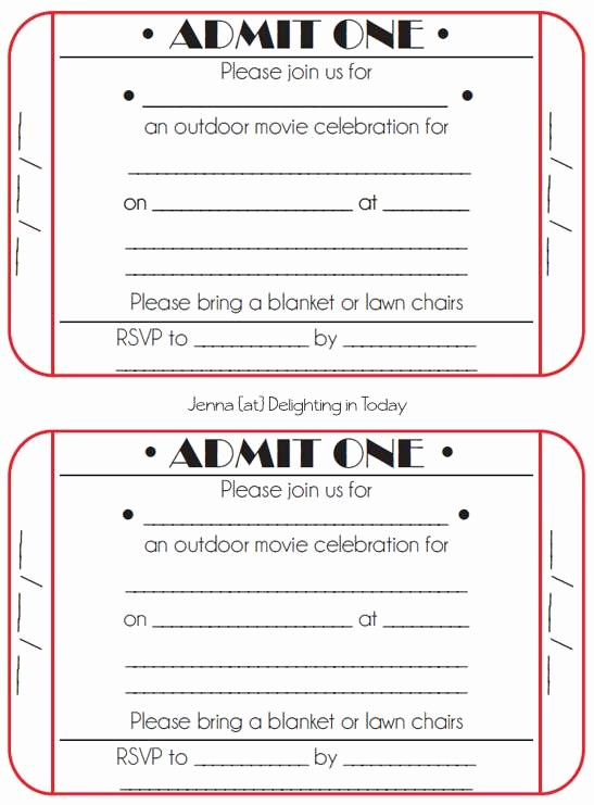 Printable event Tickets Template Free Unique Movie Ticket Template