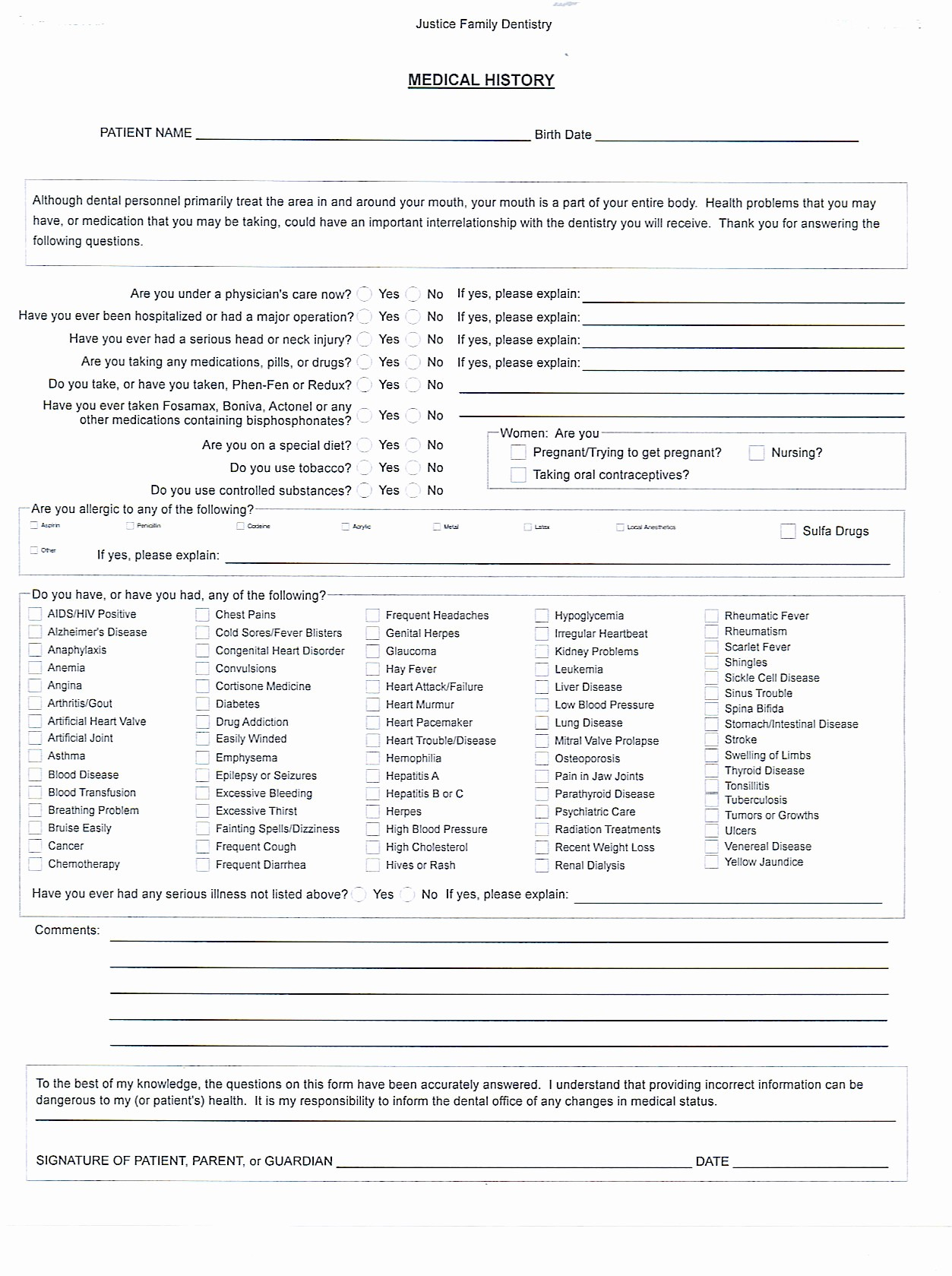 Printable Family Health History form Best Of 7 Best Of Plete Medical History form Printable