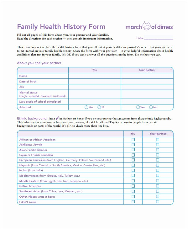 Printable Family Health History form Best Of Medical History form 9 Free Pdf Documents Download