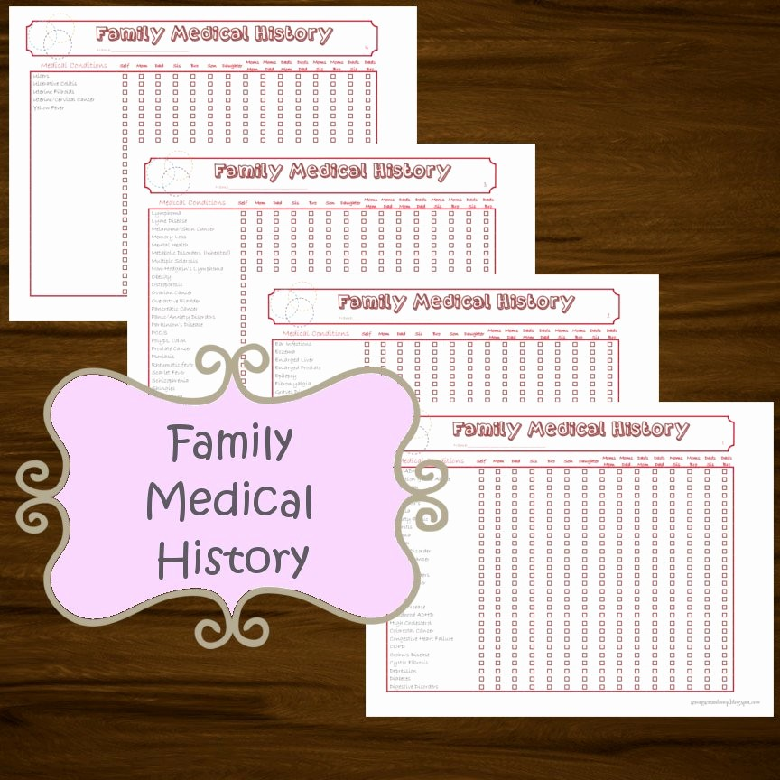 Printable Family Health History form Inspirational Family Medical History Printable 4 Pages Instant Download