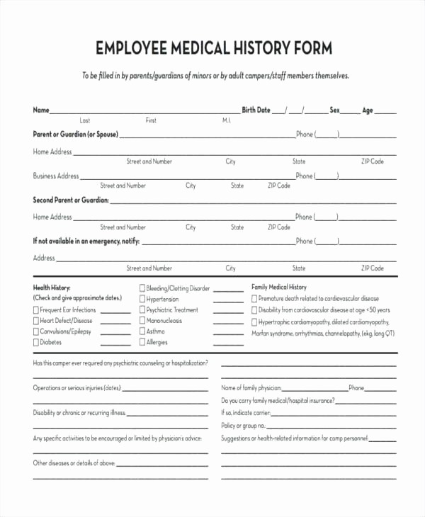Printable Family Health History form Inspirational Medical History form Free forms Printable Family for