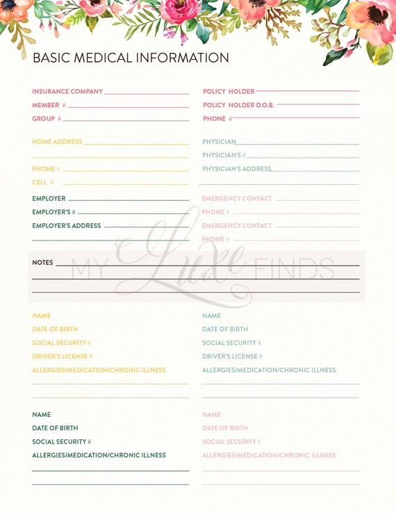 Printable Family Health History form Luxury Family Medical History Home Management Doctor & Insurance