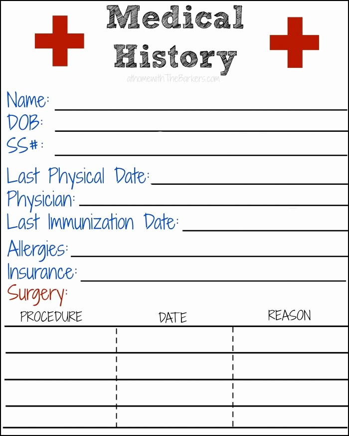 Printable Family Health History form New Medical History Free Printable at Home with the Barkers