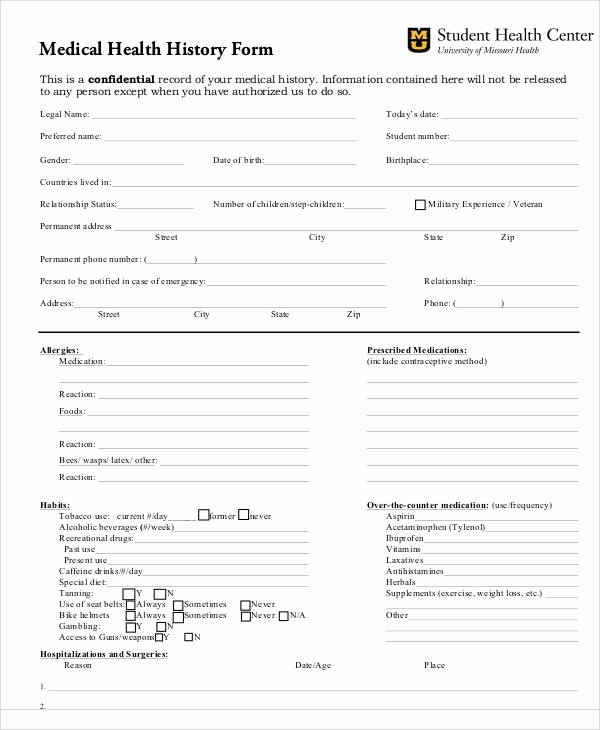 Printable Family Health History form Unique 43 Printable Medical forms