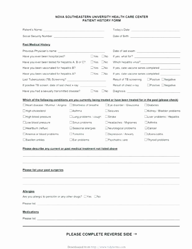 Printable Family Health History form Unique Health History form Template Personal Medical Dental