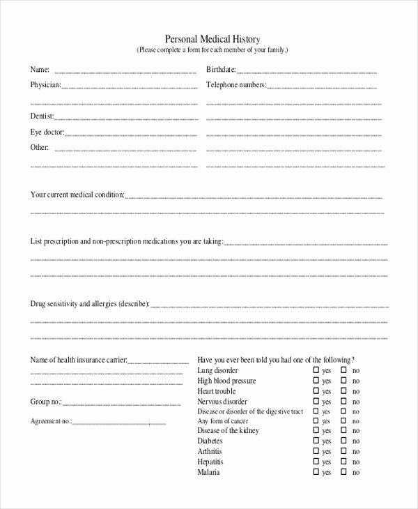 Printable Family Health History form Unique Sample Medical History form 11 Free Documents In Doc Pdf