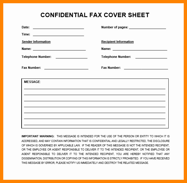 Printable Fax Cover Sheet Confidential Beautiful 6 Confidential Fax Disclaimer