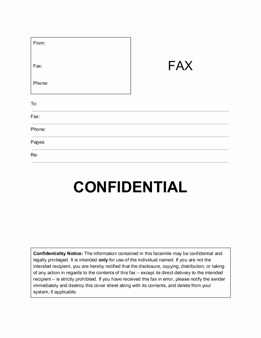 Printable Fax Cover Sheet Confidential Elegant Template Page Sample